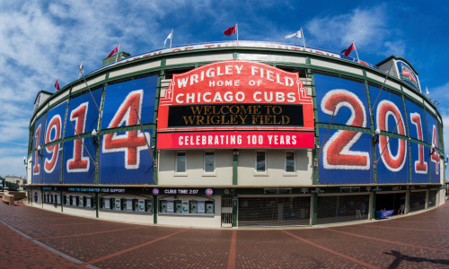 Welcome sign outside of Wrigley field